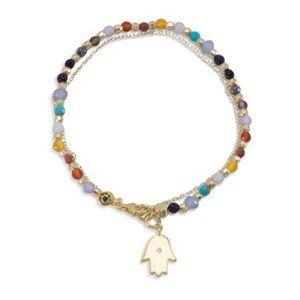 Jewelry - Double Strand 14K Gold Plated Multistone Brac